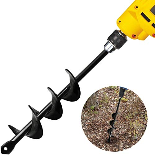 Linkhood Auger Drill Bit, Garden Plant Flower Bulb Auger Rapid Planter Bulb & Bedding Plant Auger for 3/8' Hex Drive Drill Earth Auger Drill Fence Post Umbrella Hole Digger(1.8x15 in/4.6 x37 cm)