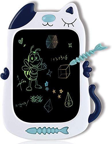 Toys for 3 4 5 6 Year Old Girls and Boys LCD Writing Tablet 8.5 Inch Colorful Doodle Board Drawing Board, Birthday Present for 2-6 Years Old Girl, Gifts for Little Kids - Blue Cat