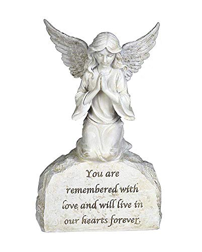 You are remembered praying angel 20cm ornament stone effect