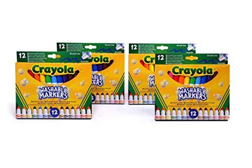CRAYOLA- Scorta 4 Confezioni di 12 Pennarelli Maxi Punta, inchiostri Lavabili, per Scuola e Tempo Libero, Multicolore, 7460