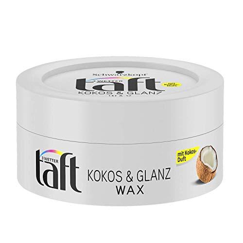 Schwarzkopf 3 Wetter taft 24h Kokos & Glanz Wax mit Kokosduft, Kontrolle & Struktur 1er Pack (1 x 75 ml)