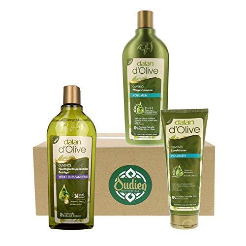 OUDIEN 3er Set dalan d'Olive entspannendes Duschgel, Volumen Shampoo je 400 ml und Conditioner für mehr Volumen 200ml, Pflegeset mit Olivenöl