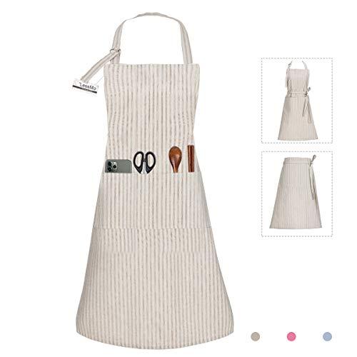 LessMo Schürze, Kochschürze und Grillschürze in Profiqualität mit verstellbarem Nackenriemen, 70 x 85 cm(Khaki)