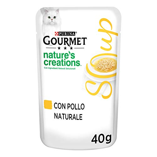 PURINA GOURMET Crystal NATURE'S CREATIONS Caldo de sopa de gato delicado con pollo natural - 32 bolsas de 40 g cada una (paquete de 32 x 40 g)
