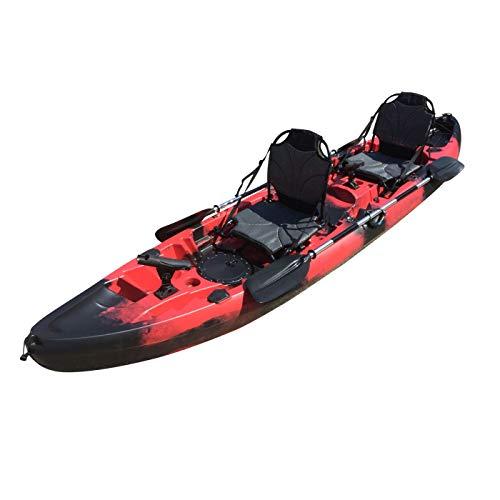 Cambridge Kayaks ES, Sun Fish TÁNDEM SÓLO 2 + 1,Negro con Rojo, RIGIDO, Asiento Alto