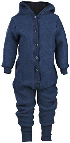 mikk-line Unisex Baby Wollanzug mit Kapuze Spieler, Blau (Blue Nights 287), 62
