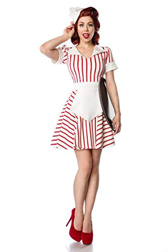 50er Jahre Kellnerin Kostüm bzw. American Diner Outfit (S, Weiß/Rot)