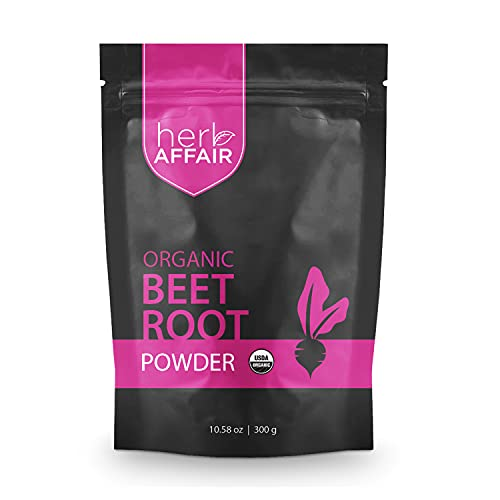 Organic Beet Root Powder - North American Grown Red Beetroot - Natural Nitric Oxide Booster for High Blood Pressure, Circulation & Stamina - USDA Organic Raw Superfood Juice Powder, Non-GMO, 300g