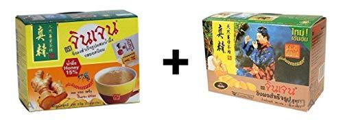 Instant Ingwer Tee von Gingen, Original Geschmack Classic 252g + Honig Geschmack 216g ( 2er Pack )