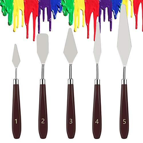 Dadanism Set di Spatola per Pittura, 5 Pezzi Spatole Pittura in Metallo Raschietto per Pittura, Spatole per Tavolozza Coltelli per Pittura ad Olio Forniture Professionale - Reddish Brown