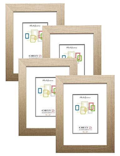 Chely Intermarket, Marcos de Fotos 10x15cm MOD-204 (Haya) (Pack 4uds) Estilo Galeria | Marcos para decoración de casa | Fotografías de Boda | Fotos de paisajes | Listado de Precio (204-10x15*4-0,25)