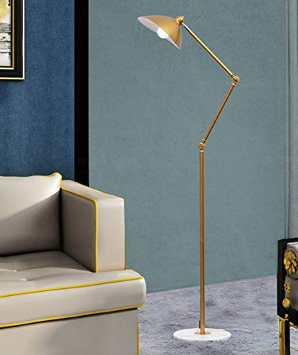 Modern Floor Lamp Swing Arm LED Metal Floor Light Adjustable Head with on Off Switch, Swing Arm Standing Lamp with Heavy Metal Based for Living Room, Bedroom, Office,Black