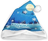 クリスマスデコレーション、クリスマスハット、サンタハット、大人のクリスマスホリデーハット、クリスマスと年末年始のユニセックスクリスマスハット-白-小