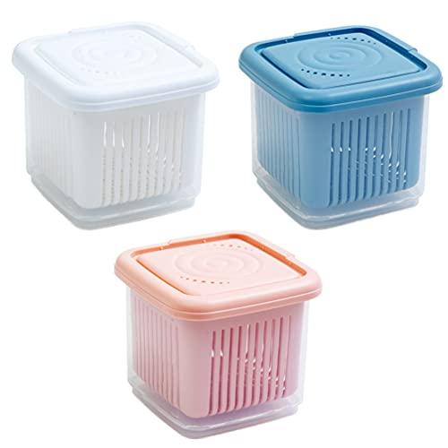 Cabilock 3 Piezas de Guardamanos de Ajo de Plástico Ahorradores de Ajo Caja de Escurridor para Alimentos Envases para Pimientos Cebollas Ajo (Surtido de Colores)