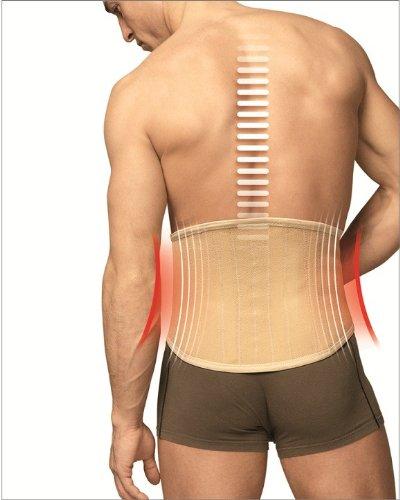 TURBO Med Plus 825 haut orthopädischer Rückenstützgürtel mit 4 Lumbalstützen bei Lendenwirbelsyndrom Ischias Überlastung nach OP, Farbe:haut;Größe:S