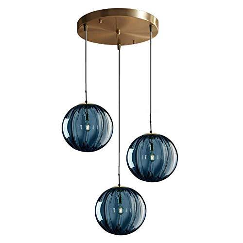 Lámpara colgante de 3 luces Ø15cm Globo de vidrio azul Lámpara de techo Lámpara colgante simple moderna E14 Lámparas de decoración de araña de loft(Azul)
