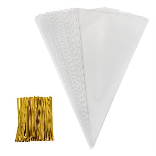 Outus 100 Stück Mittelgroß klar Cone Tüte Durchsichtig Kegel Taschen Süßigkeitentüten und 100 Stück Golden Twist Ties, 11,8 mal 6,3 Zoll