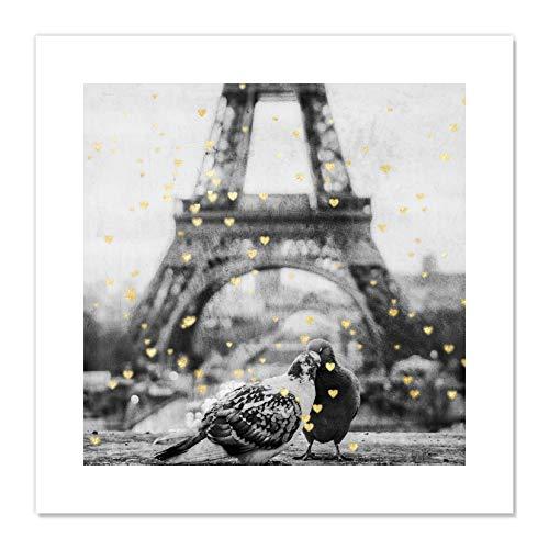Casa Fine Arts Paris Love I – Póster de la Torre Eiffel de Viajes, Color Negro y Dorado, Negro y…