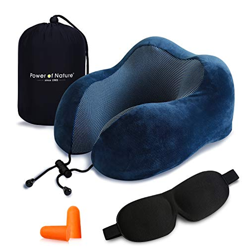 Cuscino da viaggio memory foam – The Best a forma di U collo cuscino con 360 Head & tridimensionale pieno supporto cervicale collo cuscino da viaggio perfetto per aereo auto & home use (Blu Scuro)