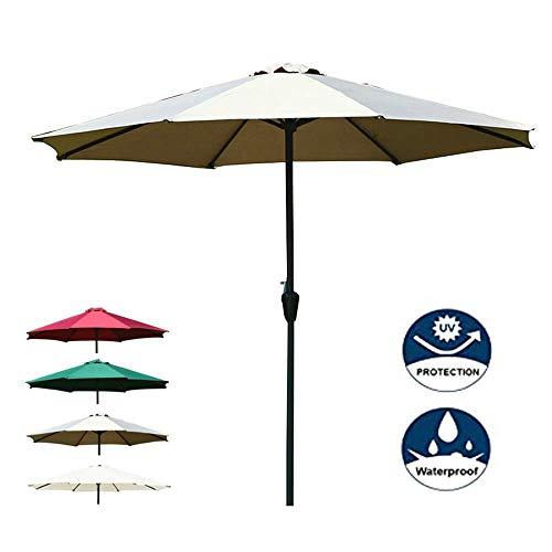FCXBQ Parapluie de marché de Patio 8,8 pi Protection UV Grand Parasol de Table extérieur Sunbrella résistant au Vent, avec élévateur à manivelle, 8 Nervures Robustes