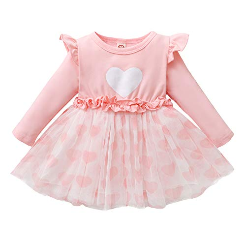 Kucnuzki Girls Valentines Day Dress Toddler Baby Girl Outfits Heart Clothing Infant Long Sleeve Ruffle Pink Princess Tutu Overall Dresses 6-12 Months Girl Clothes
