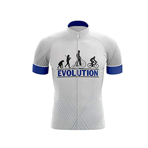 in File Evolution Cycling Short-Sleeved Road Bike Quick-Drying Breathable Cycling Top Men's Mountain Bike Cycling Jersey (White,XXXL)
