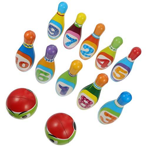 BESPORTBLE Juego de Bolos para Niños Juguetes de Desarrollo Educativo Temprano con 10 Mini Bolos Y 2 Bolas