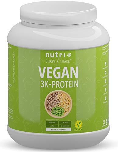 VEGANES EIWEIßPULVER Neutral ohne Süßungsmittel - 85,8% Eiweiß - Nutri-Plus Vegan Pulver 1kg ungesüßt - Natural Proteinpulver unflavored - natürlich auch zum Kochen und Backen