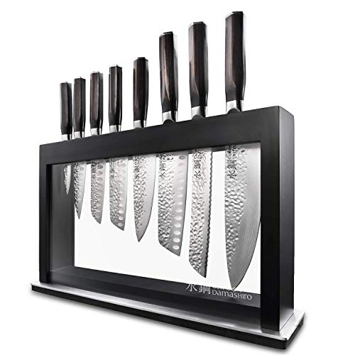 Hisa Japanese Steel 9 Piece Knife Block - Damashiro Emperor by Cuisine::pro - Includes 2 Chefs Knifes, 1 Bread Knife, 3 Santoku Knifes, Utility Knife, and a Paring Knife