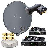 PremiumX Digitale HD SAT Anlage 2 Teilnehmer 60cm Antenne Twin LNB 25m Koax Kabel F-Stecker 2X TV DVB-S2 Satelliten-Receiver