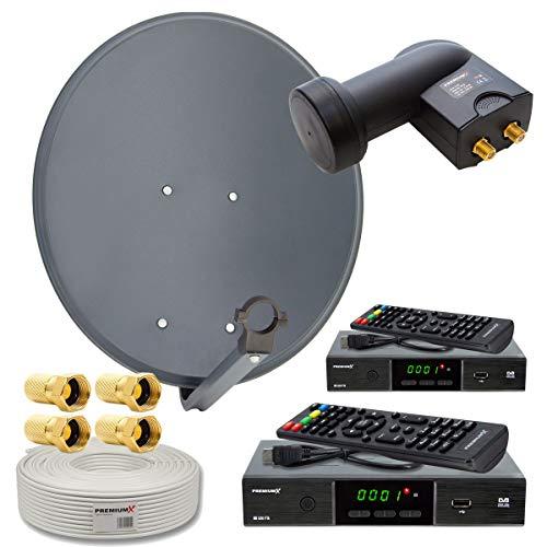 PremiumX Satelliten-Komplettanlage 2 Teilnehmer 60cm Antenne Twin LNB 25m Antennenkabel F-Stecker 2X TV HD Satelliten-Receiver