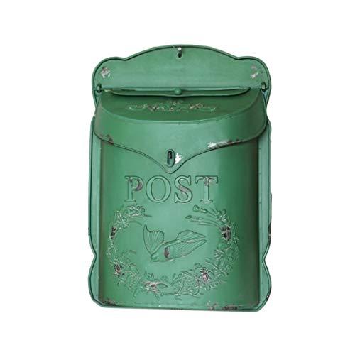 KONGY Briefkasten, American Vintage Metall Mailbox Englisch-Style Wandhalterung Zuhause Wohnung Letterbox Mit 2 Schlüsseln Letterbox