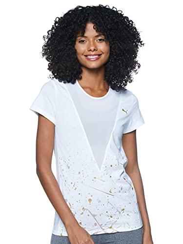 PUMA Metal Splash Deep V tee Camiseta, Mujer, White, L