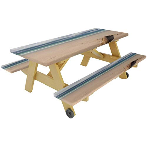72' Polyester Picnic Table and Bench Fitted Tablecloth Cover,A Driftwood on the Beach Cloudy Sky Coming Storm Theme Digital Image Elastic Edge Fitted Tablecloth for Travel Christmas,Sand Brown and Blu