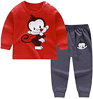 H Hibobi baby pajamas set, Cotton Toddler Sleepwear Outfits,Cotton Tops+Pants Set for Baby Boys girls