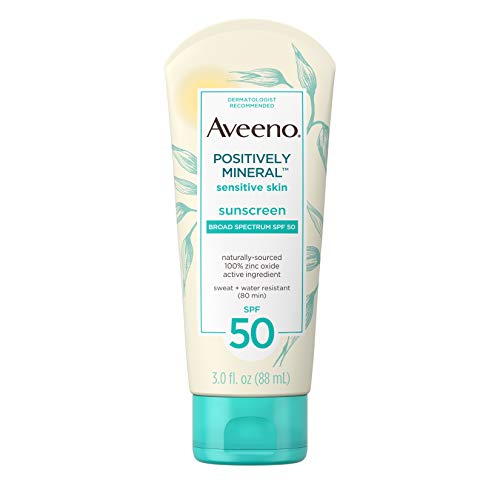 Aveeno Positively Mineral Sensitive Skin Daily Sunscreen Lotion with SPF 50 100 Zinc Oxide NonGreasy Sweat WaterResistant Sheer Sunscreen for Face Body TravelSize, Unscented, 3 Fl Oz