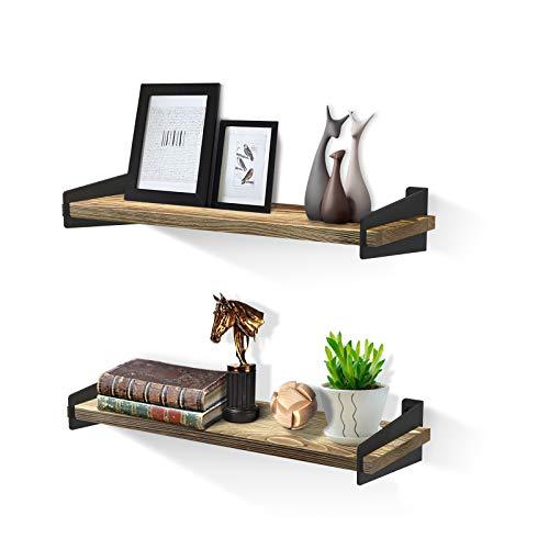 SHAN ZU - Set di 2 mensole galleggianti da parete in legno rustico, per camera da letto cucina bagno soggiorno ufficio, 41×15×1,5 CM