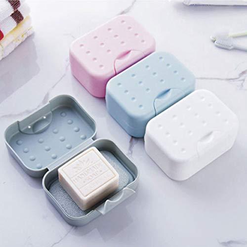 yuery Caja de jabón portátil de viaje sellada de plástico resistente al agua jabonera soporte higiénico fácil de transportar contenedor con tapa diseño de bloqueo gris
