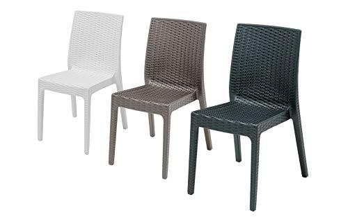 Silla de ratán para exterior, modelo Clara, sin reposabrazos, para salón de exterior, sillas apilables, diseño fabricado en Italia, 55 x 46 x 85 cm, disponible en color antracita, gris o blanco
