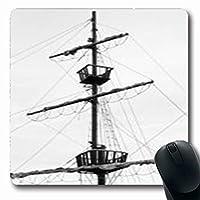 マウスパッドウォーターフロント古い帆船木材復元されたナビゲーション抽象マストヴィンテージ楕円形7.9 X 9.5インチ長方形ゲームマウスパッド滑り止めラバーマット