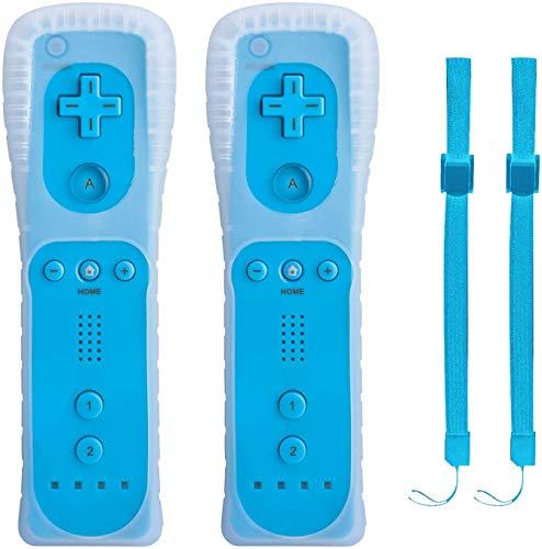 TechKen 2 pezzi Telecomando per Controller WII, Controller per Wii con Telecomando per il Gioco, con Custodia in Silicone e Cinturino, Senza Motion Plus Wii