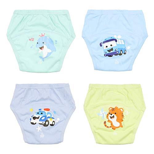 Baby Potty Training Pants Ropa Interior de Entrenamiento para niños Fuerte Entrenamiento Absorbente para Ropa Interior de bebé Pantalones de Entrenamiento Reutilizables 4 Paquetes 12M/1 año/80