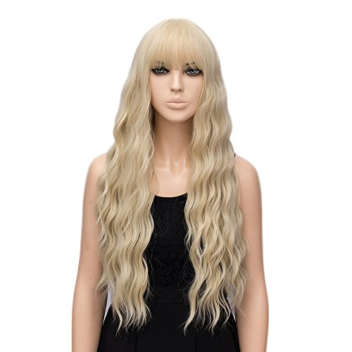 netgo Women's Golden Blonde Wigs with Bangs Long Fluffy Curly Wavy Hair Wigs for Girl Heat Friendly Synthetic Cosplay Halloween Party Wigs
