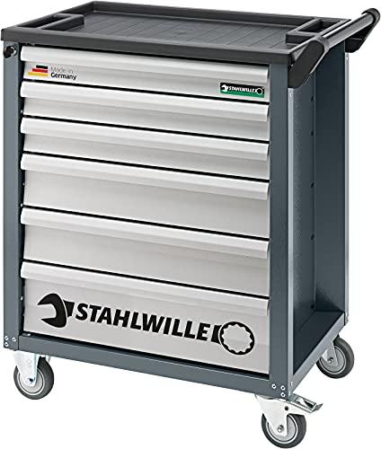 Werkzeugwagen / Werkstattwagen 90/6A in anthrazitgrau | 6 Schubladen, zweistufiges Sicherheitssystem und strapazierfähige Kunststoffablageplatte | Statische Lastaufnahme: 300 kg