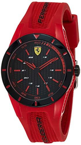 Ferrari Men's RedRev Stainless Steel Quartz Watch with Rubber Strap, red, 20 (Model: 0840005)