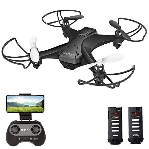 tech rc Mini Drone con Telecamera con Due Batterie Funzione di Sospensione Altitudine Un Pulsante di Decollo  Atterraggio ,Modalità Senza Testa Protezioni 360°per Bambini e Principianti Buon Regalo