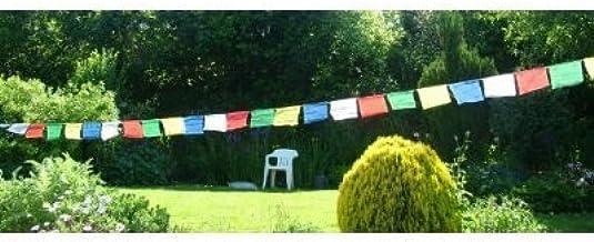 Tibetische Gebetsfahnen Polyester 7,5 m 25 bunte Fahnen 30x30 cm