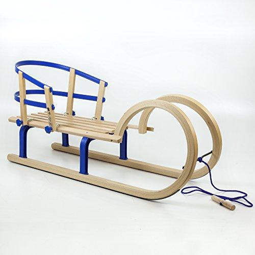 Holzfee Hörnerschlitten 100 cm Colint Baran Blue Schlitten + Zugseil + Lehne