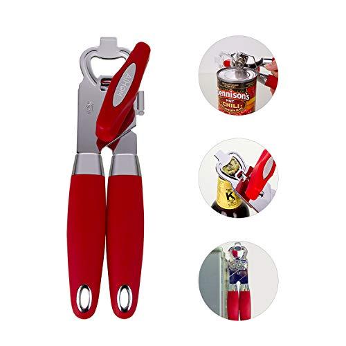 AiHom Ouvre-Boîte 3-en-1 Ouvre-Boîtes Manuel avec poignée Ergonomique Ouvre-Bouteille en Acier Inoxydable Ouvrir la Conserve Rouge pour Cuisine