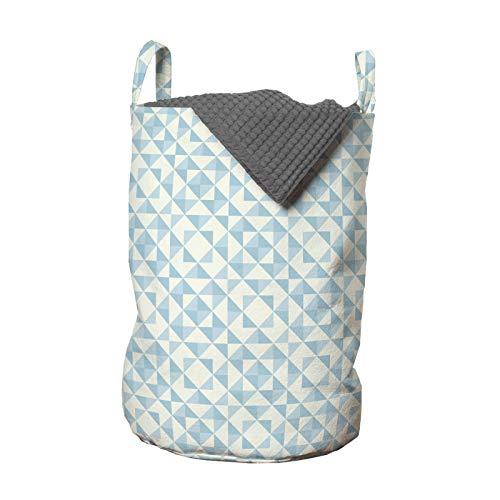 ABAKUHAUS Geométrico Bolsa de lavandería, remiendo tradicional, Cesta con asas Cierre de cordón para las lavanderías, 33 x 33 x 49 cm, Crema Azul pálido